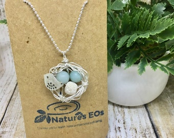 Bird Nest Crystal Aroma Necklace With Lava, Diffuser Jewelry, Diffuser Necklace.