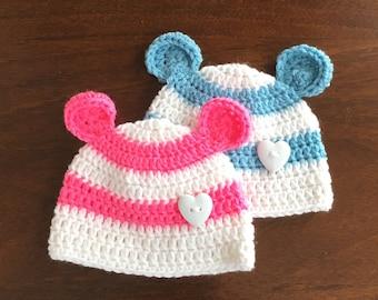 53fac7f68e96 Bear ears hat baby bear ear beanies crocheted with stripes.
