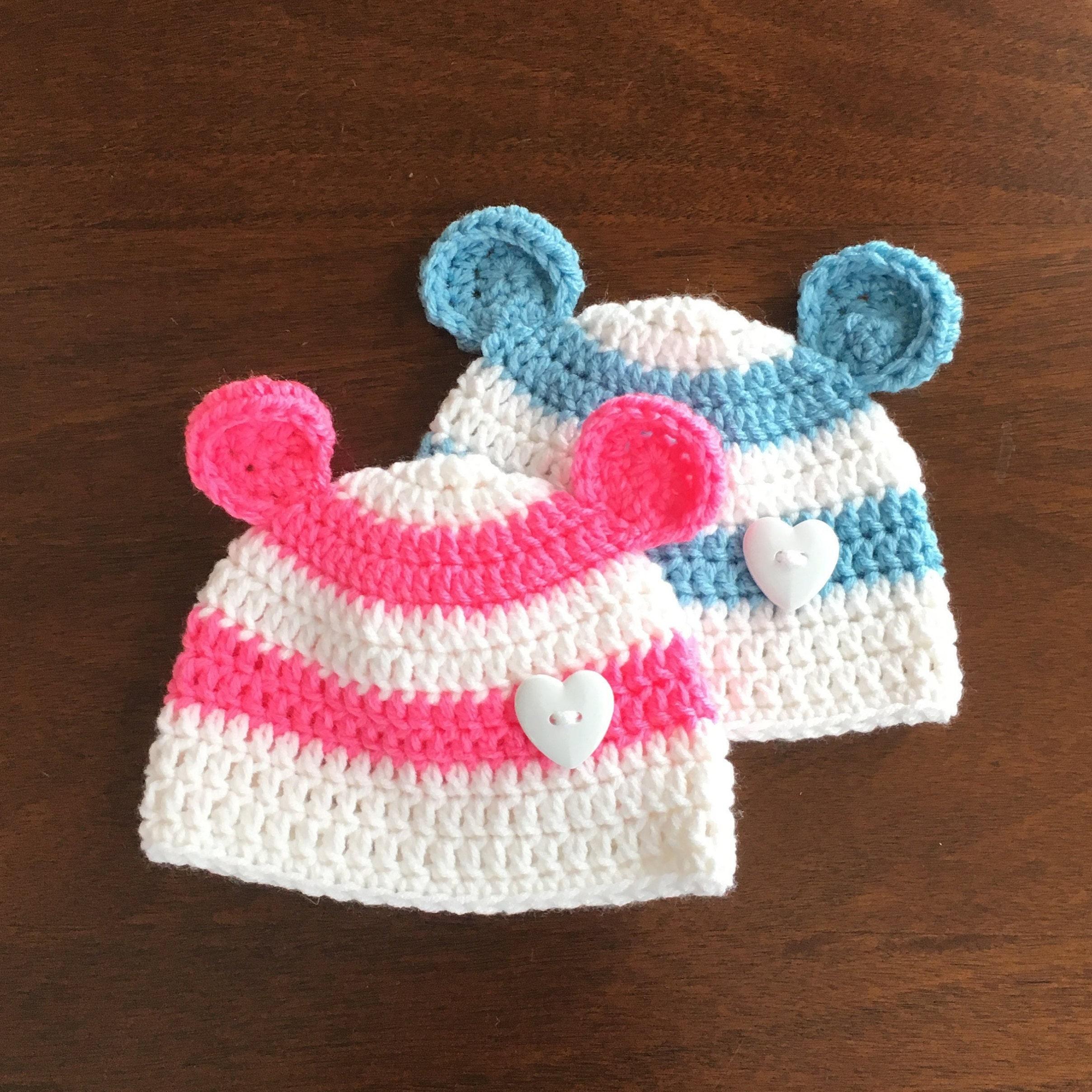 50261783bd6 Twin boy girl bear ear beanies twin hats twin shower gift