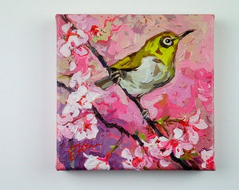 Japanese White Eye on the Blooming Cherry Tree #1. Original Oil Painting 6 x 6 inch on canvas