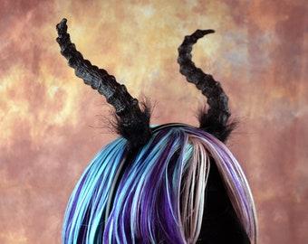Black Cosplay LARP horn headband made from foam