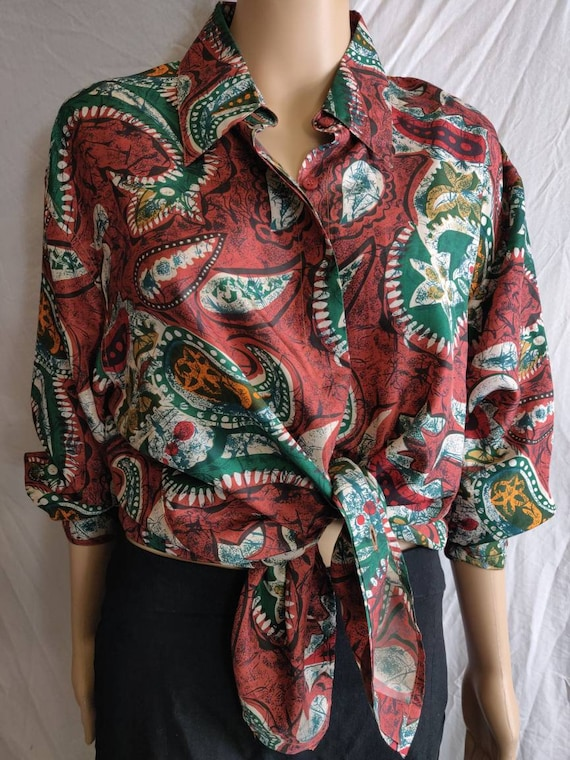 Vintage Silk Blouse Size M for women 100% silk blo