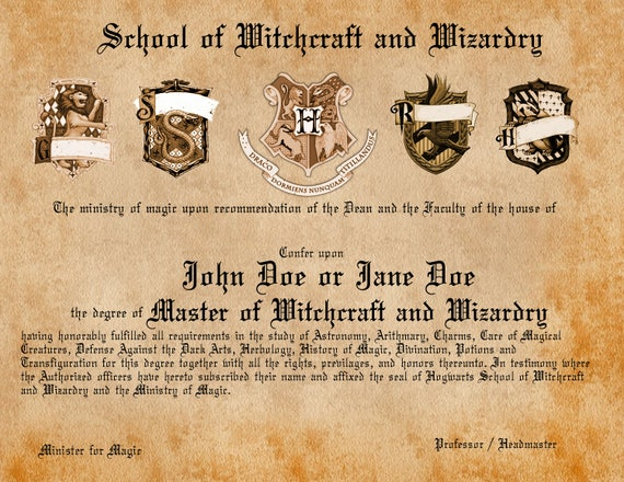 Personalized wizard diploma acceptanceinvite letter stopboris Image collections
