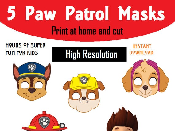 Delightful PAW Patrol Face Mask For Kids Printable At Home Instant | Etsy