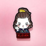 LIMITED STOCK! Stranger Things 3 Eleven Enamel Pin with BONUS- July 4th Independence Day Edition Enamel Lapel Pin Fan Art Enamel Pin Horror