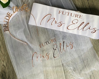 bride to be sash and veil