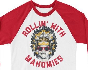 Rollin  With Mahomies - Patrick Mahomes Chiefs Inspired - Unisex 3 4 Sleeve  Raglan Shirt 2c04ebc1f
