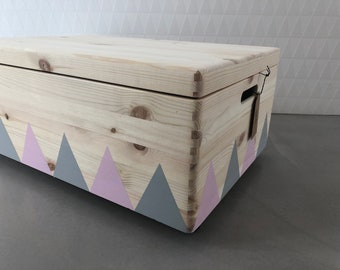 Wooden Toy Box XL Rolls Triangle Grey Pink Lid