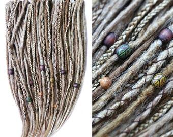 10-70 Synthetic dreadlocks - Peace'n'Love • 100% handmade • crocheted • custom • double&single ended • blond • hippie • dread-store