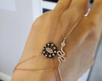 Set with Cognac Colored Rhinestones Slave Bracelet Vintage Costume Jewelry Snake Bracelet Sprung Hinge Fastening Germany 1970s