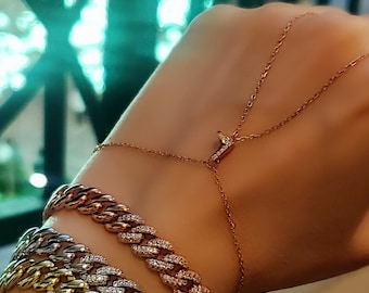 Clear Zirconia Three Strand Dangle Body Chain Adjustable Anklet Handcrafted 925 Sterling Silver