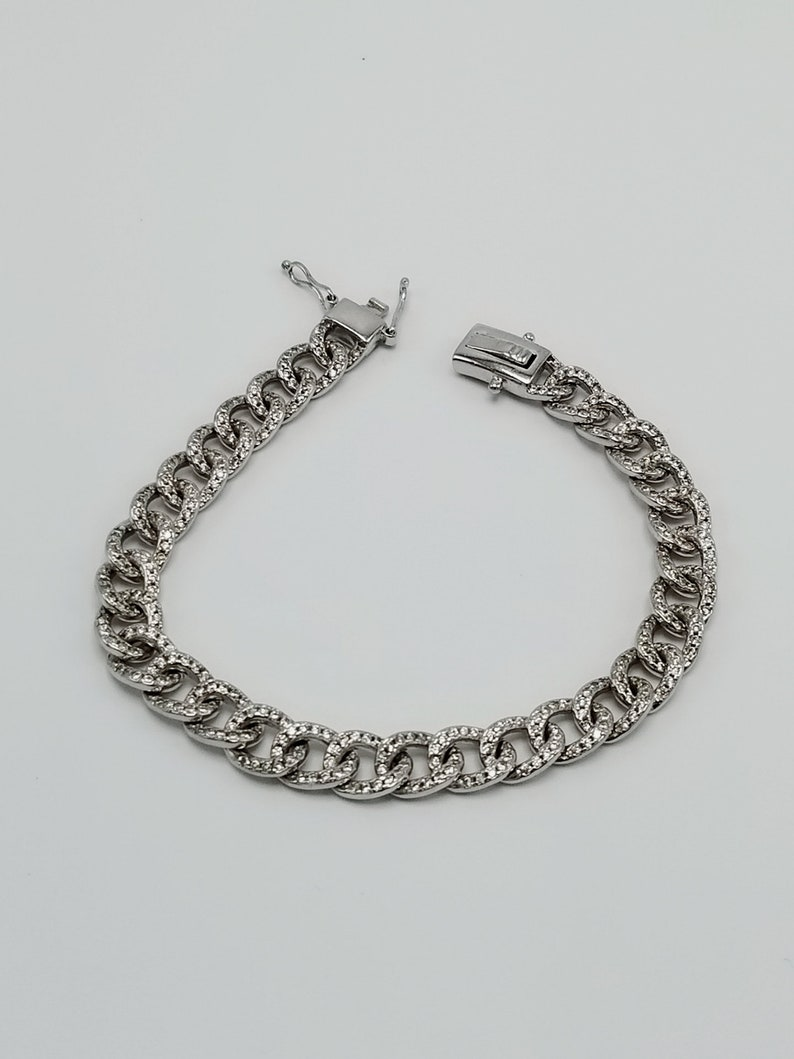 Chain with Cubic Zircon  Bracelet  925 Sterling Silver