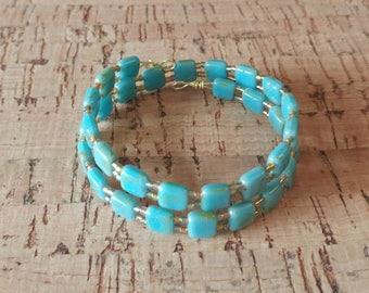Blue and Gold Beaded Wrap Around Bracelet