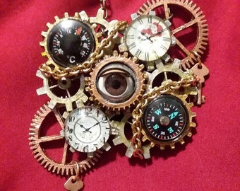 Steampunk Dolleye Necklace with functional Compass and Thermometer
