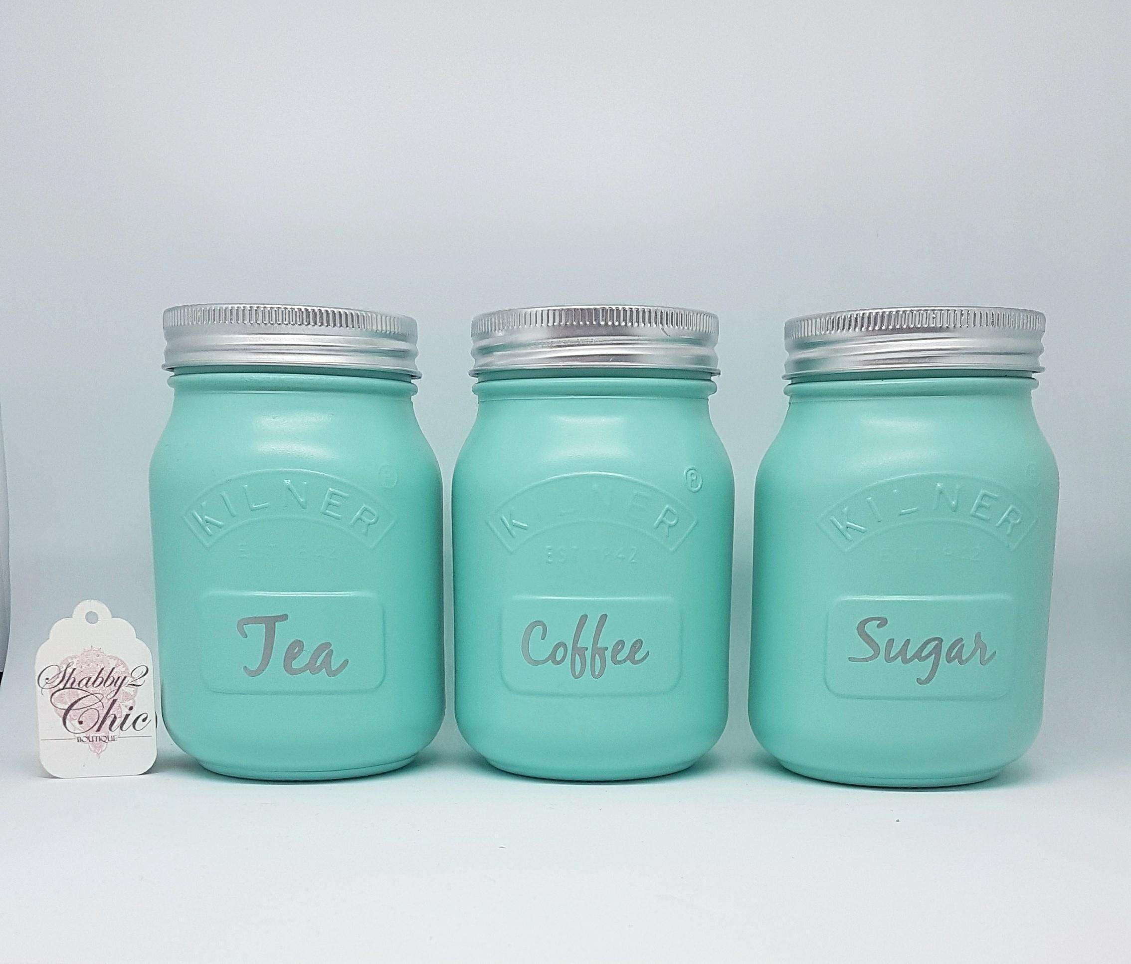 Set of 3 Painted mint green tea coffee sugar Kilner Jars | Etsy