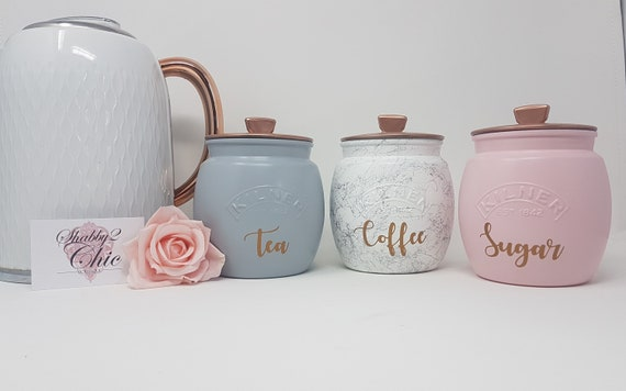 Kitchen Canisters Tea Coffee Sugar Pink Grey Silver Marble Etsy