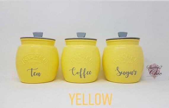 Plain Tea Coffee Sugar Canisters White Cream Yellow Mustard Etsy