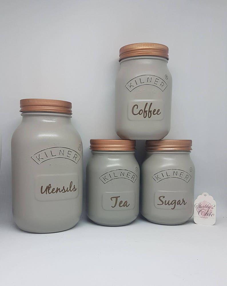 Set Of 4 Grey And Copper Tea Coffee Sugar Utensils Kilner Jar Canisters Kitchen Storage Set Grey Kitchen Jars