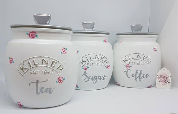 Pretty Shabby Chic White Pink Rose Bud Floral Tea Coffee Sugar Etsy
