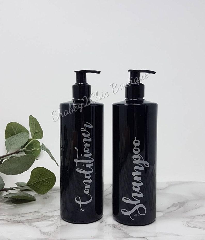 7122dadd41ef Black bottle soap dispenser bathroom storage pump bottles bathroom set  Reusable bottles shampoo conditioner bottles toiletries set
