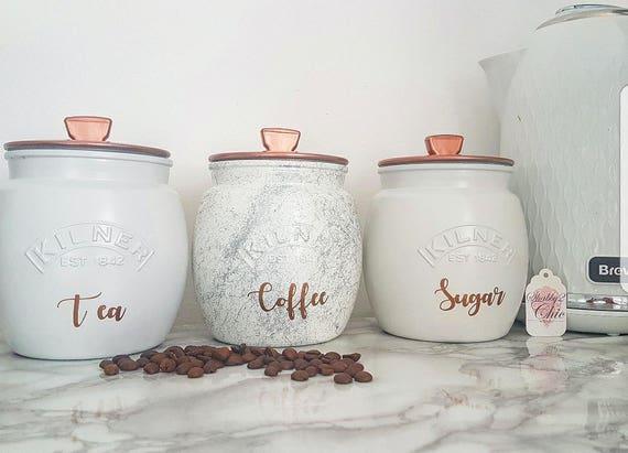 Greysilverwhitecopper Tea Coffee Sugar Canister Tea Caddy Kitchen Canister Kitchen Storage Marble Decor Kitchen Decor Painted Kilner Jars