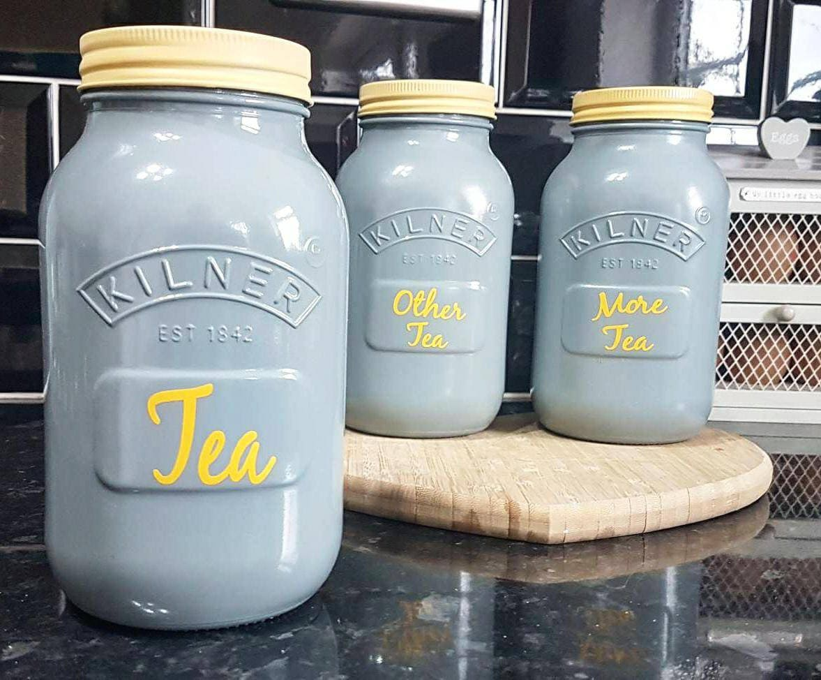 Set of 3 Painted Grey & Yellow Tea Kitchen Canisters. Kilner | Etsy
