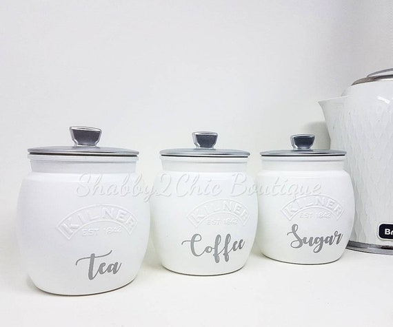 Plain Tea Coffee Sugar Canisters White Cream Yellow Mustard Black silver  Kitchen Canisters Kitchen set Kitchen Storage Kilner Jars Tea Caddy