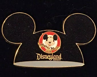Disney DLR - Mickey Mouse Club Ears Hat Disneyland (Flocked) Pin ~ On Original backing!