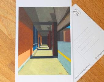 "Art Postcard 4"" x 6""  of Rosedale Station #2, Toronto Art, Architecture art, mini art prints, Toronto Postcards, Canada art, city print"