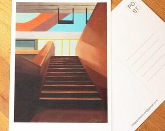 "Art Postcard 4"" x 6""  of Lawrence West Station #4, Toronto Art, Architecture art, mini art prints, Toronto Postcards, Canada art, city print"