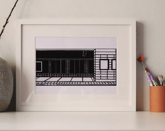Composition #5 - Toronto Subway Station, woodcut print Original limited art, black and white print, hand made, St. George Station, Canada