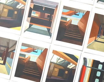 "Art Postcard Set of 5, 4"" x 6"" , Toronto Art, Architecture art, mini art prints, Toronto Postcards, Canada art, Oil paintings, colorful"