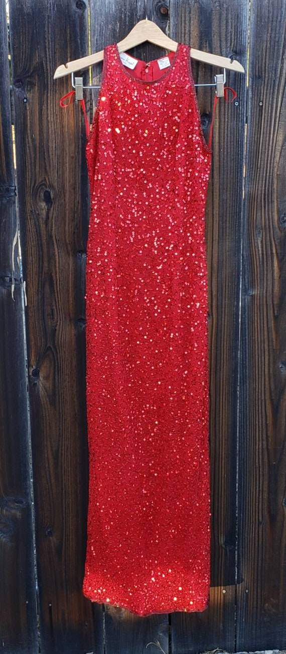 True vintage Laurence Kazar 1980s red silk sequin