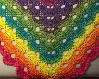 Virus Shawl, crochet shawl, crochet wrap, prayer shawl, crochet fling, shoulder wrap. Rainbow. Made to order