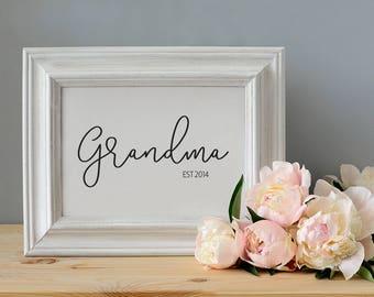 Personalised Grandparent Framed Print, Wall Art, Grandad Print, Nana Print, Gift for Grandpa, Gift for Grandma, Established,