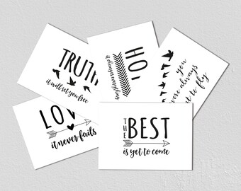 Set of 5 inspirational A6 Postcards, Black and white, love, truth, hope, the best is yet to come, birds, hearts, arrows, monochrome, A6