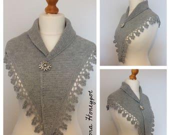 A beautiful hand crocheted OOAK shawl/shawlette/mini shawl/wrap made using quality yarn.
