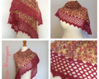 Fruit salad handmade OOAK crochet shawl/wrap