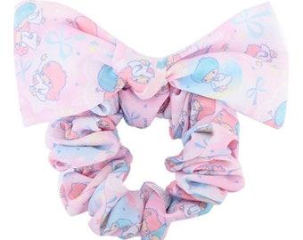 Sanrio Little Twin Stars 3-Way Ponytail Holder Silky Chiffon Scrunchie Bow  Tie Hair Elastic 511cc5da334
