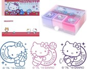 Hello Kitty Self-inking Reward Stamp Set Teacher Homework Encourage Review Rubber Chop with Memo Pad Sanrio