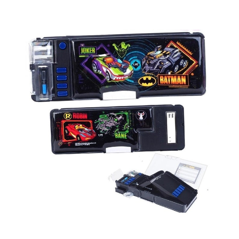 94fdbb719b07 DC Comics Batman Glitter Glue Multi Functional 2-Sided Holder Deluxe Pencil  Pen Box DIY Tool Storage Case w/ Sharpener