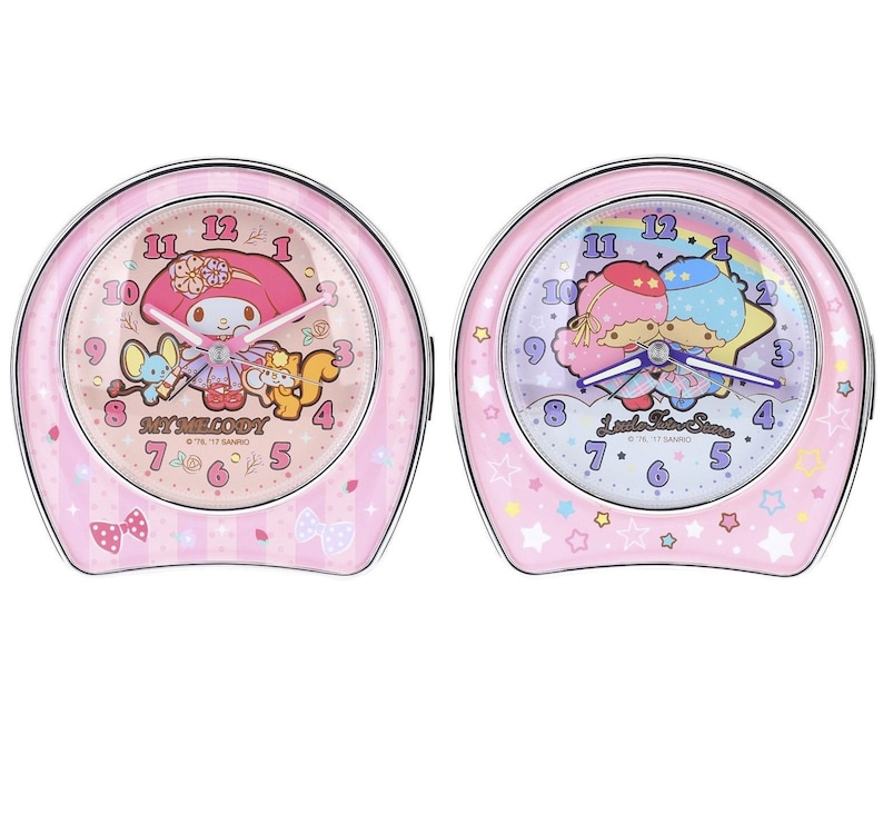 Sanrio 13 Melody Sound Alarm Clock Snooze Silent Luminous Hands LED Night Light