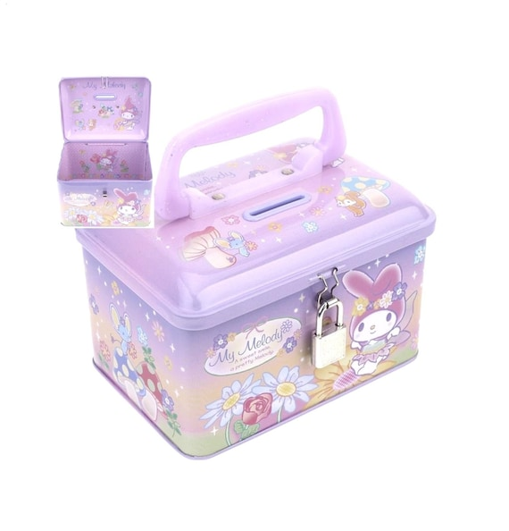 Sanrio My Melody Cash Coin Bank Jewelry Diy Tool Storage Box Tin W Lock