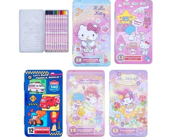 Kawaii 12 Colors Japan Lead Drawing Colored Pencils Stationery in Metal Box