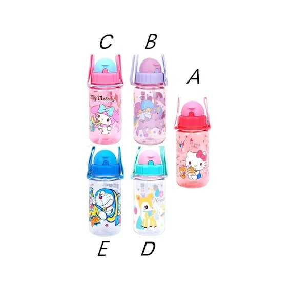 Doraemon/Sanrio BPA & BPS Free Tritan Nice Printed Straw Water Bottle w/  Shoulder Strap-removable and Name Sticker