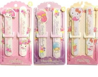 Sanrio Nail File 2-Sided Grit Manicure Sander Buffer Emery Board Hello Kitty/Little Twin Stars/My Melody 2Pcs/Set