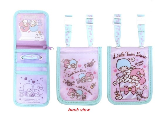 Little Twin Stars Pass Case ID Card Badge Holder w// Coin Purse Lanyard Pouch Bag