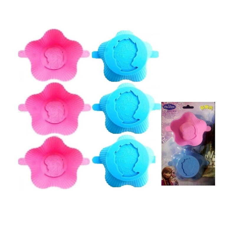 Set of 6 Disney Anna /& Elsa Silicone Baking Cup Cupcake Liner Cake Chocolate Jelly Mold Case Bakeware