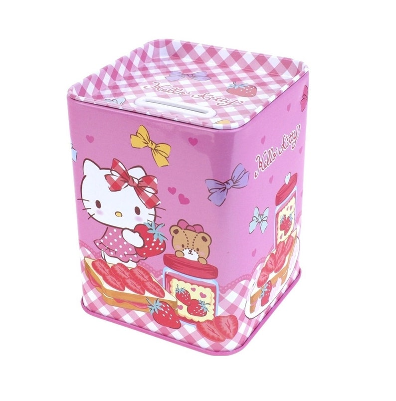 Sanrio Hello Kitty Cat Tin Coin Bank Stationery Makeup Craft Tool Holder Case