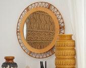 Vintage bamboo mirror round wall mirror bamboo rattan wicker boho bohemian